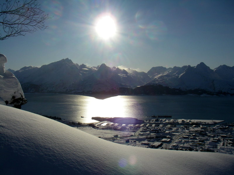 Another blue bird day in Valdez. Temps are nice and chilly making for great conditions.