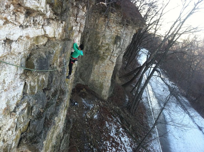 Jasmin following on the first ascent of Across the Choss