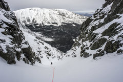 Rock Climbing Photo: Simul-climbing the long snow gully.