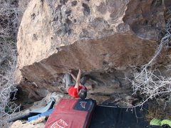 Rock Climbing Photo: Cross match undercling, got to love Hueco!