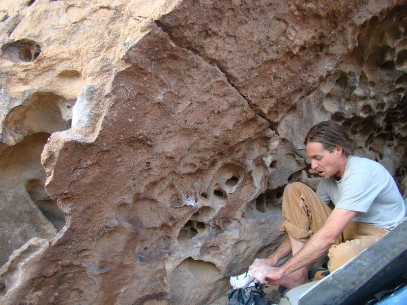 Rock Climbing Photo: Starting Jug (and Phillip).