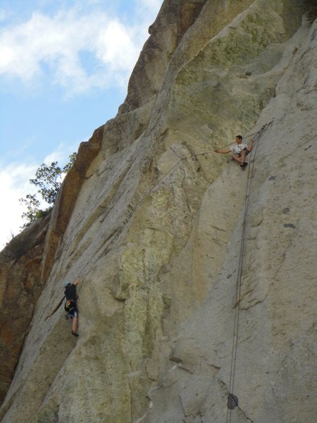 Belaying the steep hands