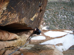 Rock Climbing Photo: An upper corner pitch on a snowy day
