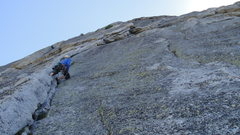 Rock Climbing Photo: Heading up the roof pitch