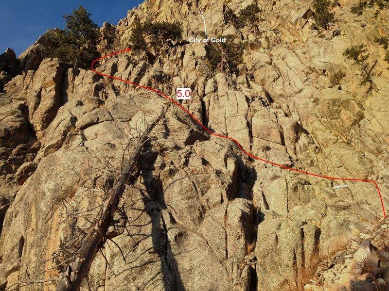 Rock Climbing Photo: (4) Scramble approach detail for Sinking Sun.