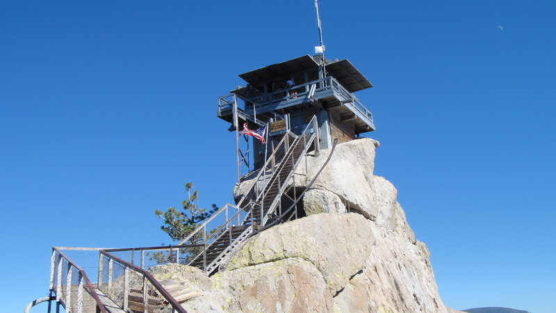 The old fire lookout. It burned down a few years ago apparently from a kitchen fire. It was demolished the next season -presumably by the crushing forces of irony.