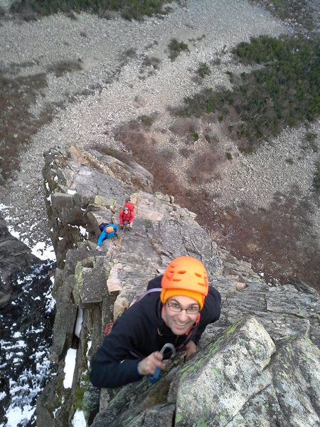 Photo looking down on the last pitch (5.8 variant) of the Whitney Gilman ridge in November.