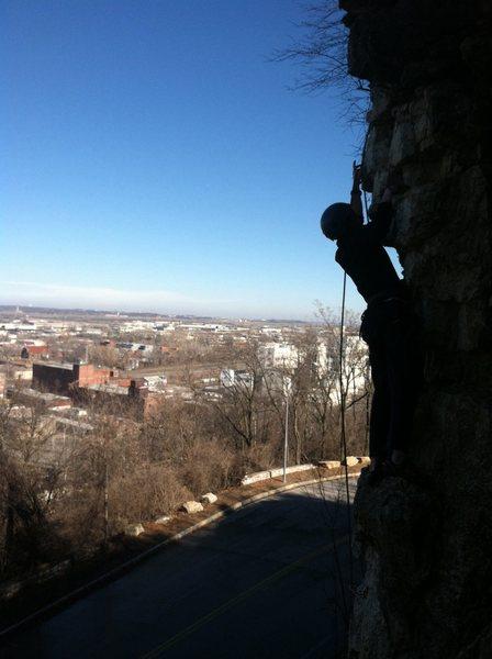 Rock Climbing Photo: Logan clips the anchors of Lefty high above the Ea...