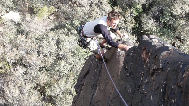 Climbing the arete for the finish