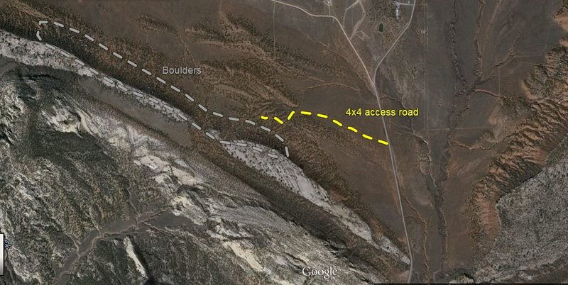 Overview map.  Shows road 4x4 trail that accesses boulders.