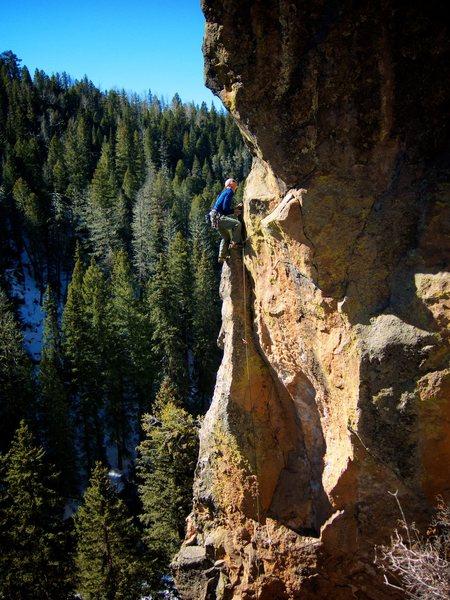 Rock Climbing Photo: Pretty sweet exposure up high. February 2015.