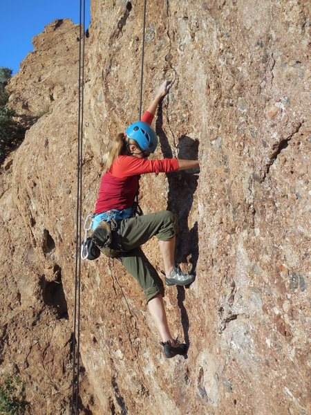 Rock Climbing Photo: Working the good hueco above the bouldery start.