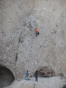 Rock Climbing Photo: Climber making good progress on an Unknown 5.10C, ...