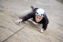 Rock Climbing Photo: Marisa Fienup climbs Rotten Bananas, on the Tall W...