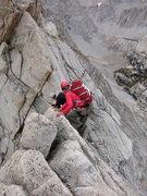 Rock Climbing Photo: Traversing 4th class section