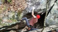 Rock Climbing Photo: After the big move to the lip of the boulder.