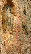Rock Climbing Photo: Route Topo for Trojan Horse (5.11+)