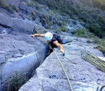 "Rock Climbing Photo: Finishing up the ""offwidth"" on pitch two..."