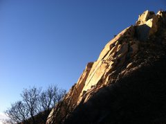 Rock Climbing Photo: Beautiful February sunset after finishing Crescent...