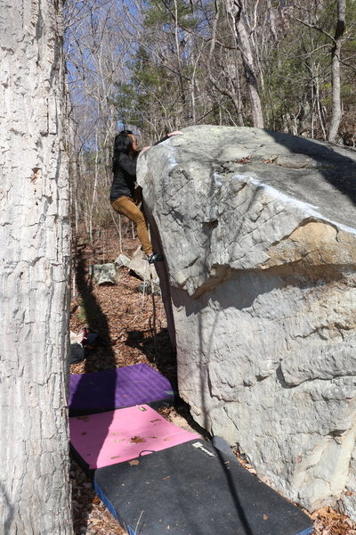 Rock Climbing Photo: Sonia Shultis finishing up the streamside traverse
