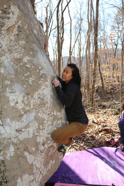 Rock Climbing Photo: Sonia Shultis squeezing her way up the bulge
