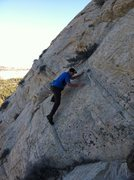 Rock Climbing Photo: Traversing back right on the downclimb below the c...