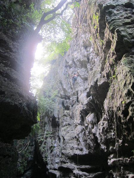 Rock Climbing Photo: Ben nearing the first anchor