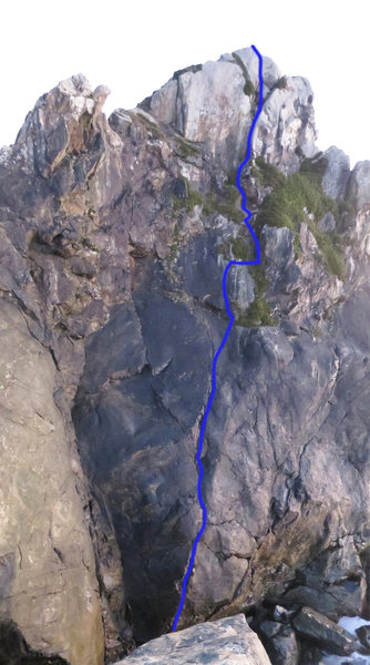 Route line for North Face Direct
