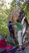Rock Climbing Photo: Move from start rail to second high rail. This ski...