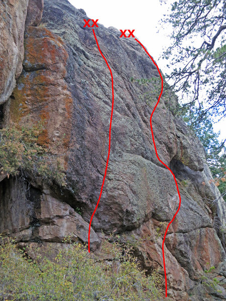 Rock Climbing Photo: Bucking the Norm is on the left, One for the Old G...