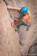 Rock Climbing Photo: Climbing on gear only, Aaron Livingston high steps...