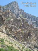 Rock Climbing Photo: Rough topo. Photo taken from near the mouth of the...