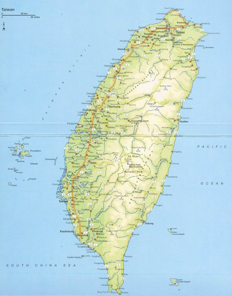Detailed map of Taiwan