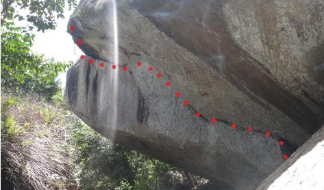 Realization 7b  10m long 8m high .  6 bolts. <br> There are bolts available but you can also trad climb this line. E4 6b (uk grade).<br> Start on the far right in the crack , you will need to footless the first few moves but once your make you way across the crack foot holds will begin to appear. Very pumpy climb a good belayer is a must . <br>