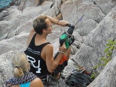 Rock Climbing Photo: Dave bolting new routes at Climbers cove