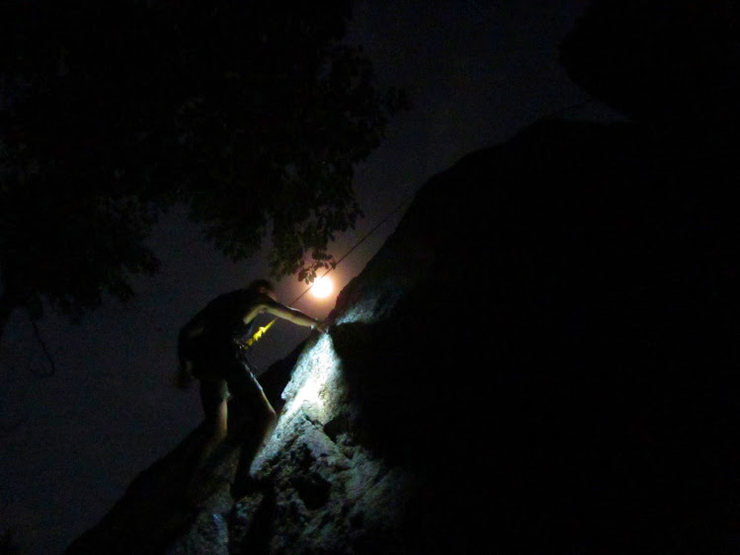 Some night climbing . takes a while to bolt new climbs so sometime we get the first ascent in under the glow of head torches .