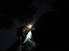 Rock Climbing Photo: Some night climbing . takes a while to bolt new cl...