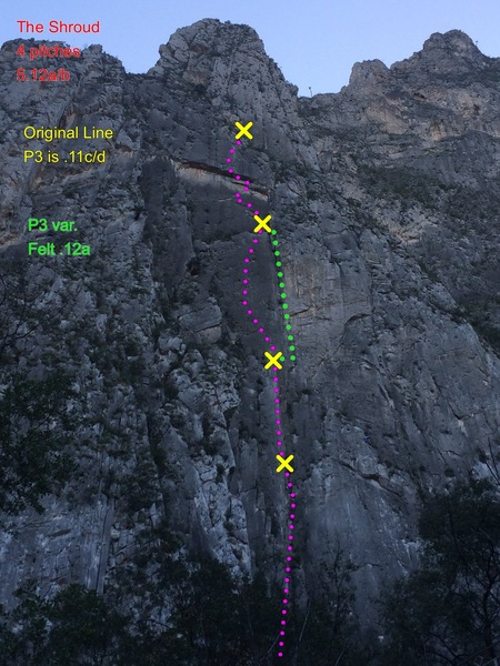 Rock Climbing Photo: The Shroud climbs the pillar in the lower center i...