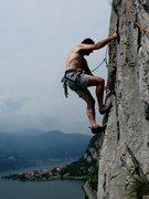 Rock Climbing Photo: Bolt clipping at Lecco, Italy