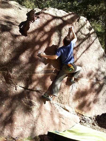 Gill Boulder, south face (v2 - felt like v4-5), eldorado, CO