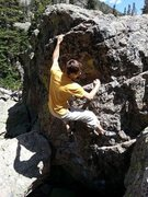 Rock Climbing Photo: V3 in RMNP - emerald lake area