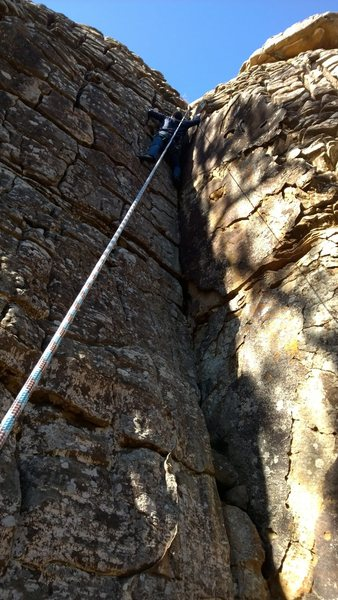 Rock Climbing Photo: Logan Shimp up the dihedral.  It was his first day...