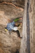 Rock Climbing Photo: Shaun Reed on Pitch 2 during the FFA of Undertow, ...