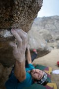 Rock Climbing Photo: Sticking the crux move of Sharma Traverse (V10)