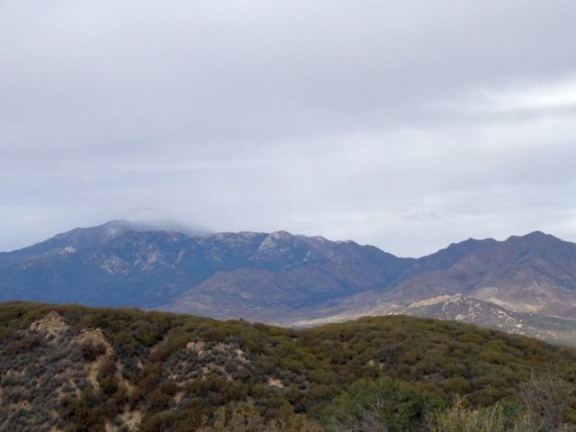San Jacinto Peak shrouded in clouds, San Jacinto Mountains