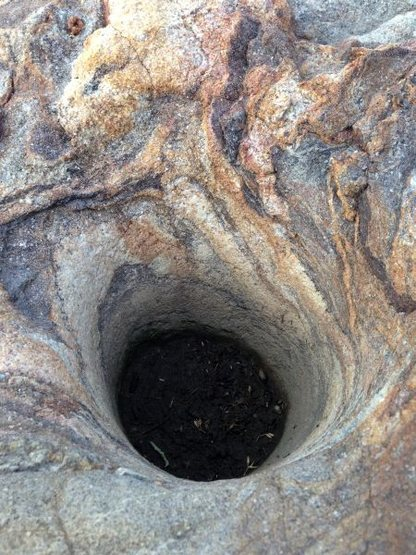 Rock Climbing Photo: A grinding hole in Upper Coyote Canyon, Anza Borre...