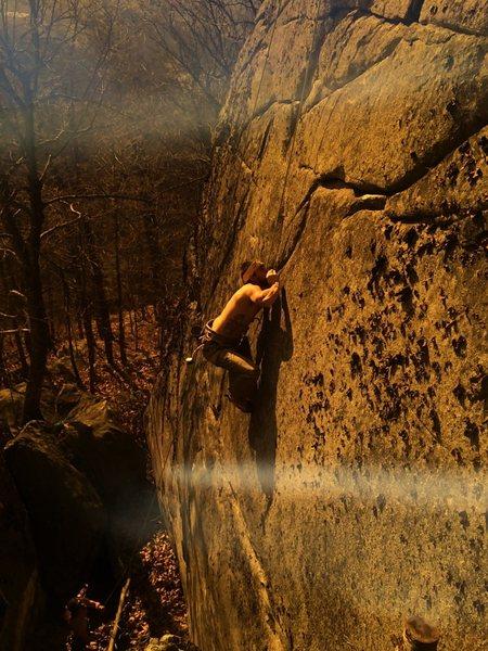 Rock Climbing Photo: Working the crack