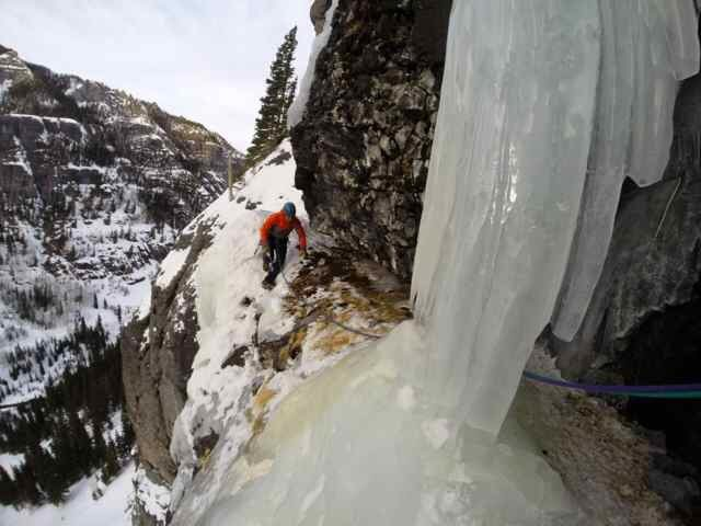 Rock Climbing Photo: Coming across top of pitch 1 on Talisman in fat co...