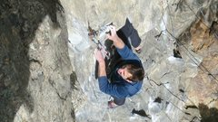 Rock Climbing Photo: Latching the crux hold.