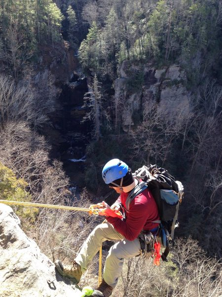 Rock Climbing Photo: Rappelling into Bradley Falls.